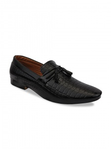 Men Black Synthetic Formal Loafers (DU-B2-LFR-001B/BLACK)