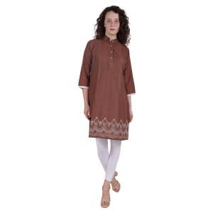 Brown Embroidery Ethnic Wear Kurti For Women (SRK-2X-002)