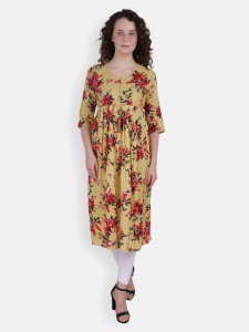 Floral Print Yellow kurti for women (SRK-2X-DU-003C)