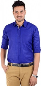 Men Solid Casual Shirt For Men (Royal Blue)(S9-FS-211A)