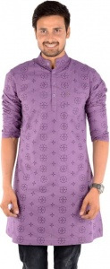MEN Embroidered Men's A-line Kurta  (Multicolor, Purple)