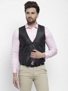 Forgeko Self Design Men's Formal Western Sleeveless Jackets With Satin Like Back FO-M-WC-2X-01B