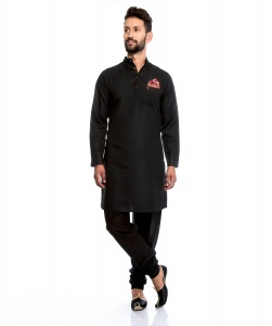 Men Silky Cotton Based Aline Nawaabi Black Kurta  with Churidaar Pajama & Pocket Square