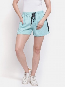 Sporty Look Stylish Cotton woven Green colored shorts for women of all ages(Z-DS-001C)