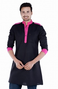 Men Black & Pink Solid Straight Kurta (S9-MK-229C)