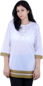 Casual Solid Women's Kurti SEE THRU  (White)_SRK 002
