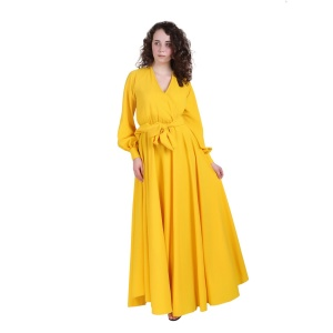 Semi Wraparound Long Yellow Dress For Women (ZINN=ZIB-2X-013)