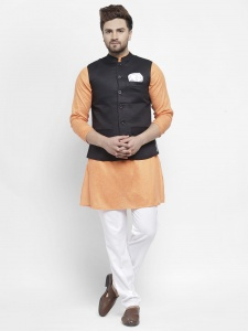 Men Rich khadi Kurta Pajama Jacket Set (S9-IWS-701H-ECO7)