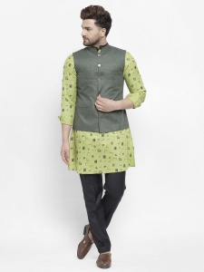 Men Rich Cotton Linen Look Kurta Pajama Jacket Set (S9-IWS-702A-WC-202A)