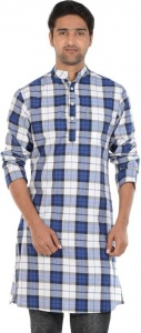 MEN Checkered Men's A-line Kurta  (Blue, White, Black)(S9-MK-602O)