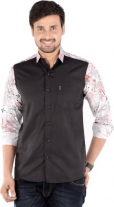 Men's Solid, Printed Casual Shirt Linen Look (Black, White, Red) S9-FS-228C