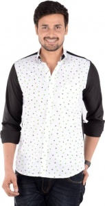 S9 Men's Solid, Printed Casual Linen Look Shirt (Black, White, Green) S9-FS-227A