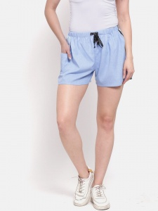 Sporty Look Stylish Cotton woven shorts Sky Blue colored for women of all ages(Z-DS-001E)