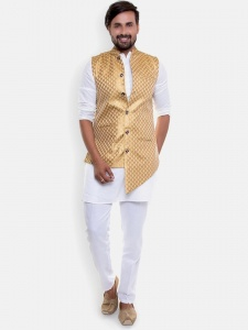 Men -4 Piece Set -Round Neck  Elegant Party White Full sleeved Kurta With Trouser Fit Pajama with Asymetrical Band gala  (1)