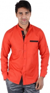 Men's Solid Casual Shirt (Red, Black) S9-FS-212A