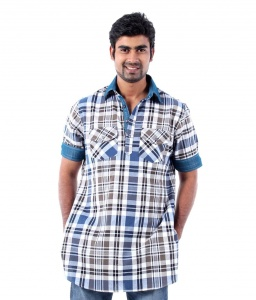 Men Blue & White Checked Pathani Kurta