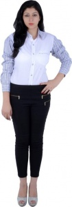 Women's Checkered, Solid Casual White, Blue, Black, Brown Shirt (S9-W-FS-2006)