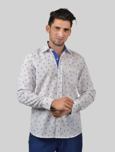 Men Solid Casual, Semi-Formal Cotton Blend Shirt For Men(Blue Grey White)