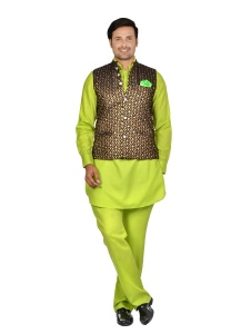 Forge'ko Black Gold with Lime Green Pathani Kurta Pyjama Jacket Set (S9-M-PKSET-08C)