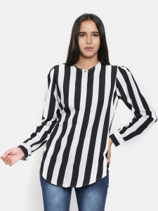 Zinniars Black And White Stripe Shirt For Women (Z-2X-TnB-004A)