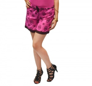 Elegant Pink Day Shorts With Embroidery And Trim At The Bottom  (S9-W-HDS-05)