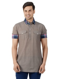 Men Brown Solid Self Design Pathani Kurta