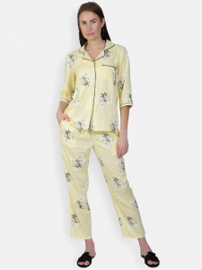 Zinniars Two-Piece cute sleepwear / Nightsuit Pajama Set featuring 3/4th sleeve top and pants for relaxed fit(SC-Pj-Pajama-20201D)