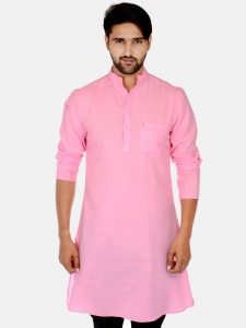 Men Baby Pink Solid Straight Kurta (S9-MK-201V)