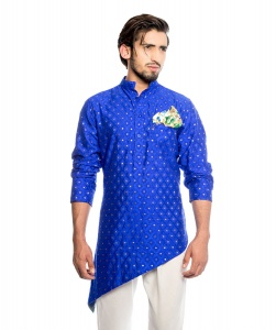 Men Royal Blue & Golden Jacquard Woven Diagonal Cut Kurta  with Printed Pocket Square (S9-MK-JDOB-201E)