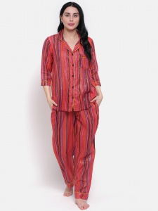 Zinniars Stylish high summer Hand Printed Stripe on thin Cotton  Lurex Night  Suit Set With Lapel Collar And 3/4 Sleeves,See thru (Z-2X-PJ-PAJAMA-202C)