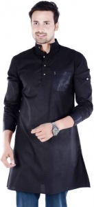 MEN Solid, Self Design Men's A-line Kurta  (Multicolor, Black)  S9-MK-255B