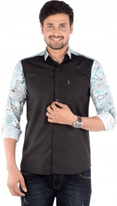 Men's Solid, Printed Casual Shirt Linen Look (Black, White, Light Blue) S9-FS-228B