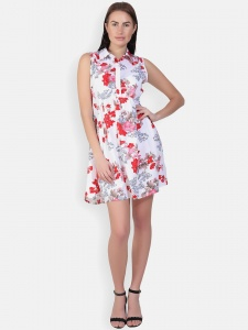Floral White Printed Sleeveless Dress With Collar For Women (Zinn-DRS-2X-03)