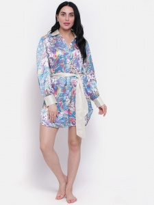 Designer Printed Satin  Boyfriend Shirt-Dress For Ladies From The House Of Zinniars (Z-2X-BS-002B/Blue)