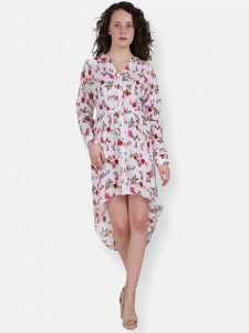 Designer High Low Style With Floral Print Dress For Women (ZINN=ZIB-2X-011)