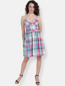Multi Colour Slip On Fancy V -Neck Check Dress For Women (ZINN=ZIB-2X-010)