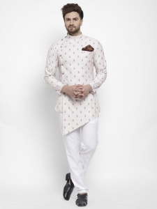 Men Designer Printed Bio washed A-Line Diagonal Hemmed Nawaabi Kurta Pajama Set with Pocket Square(S9-KP-705A)