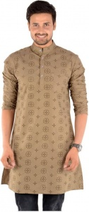 MEN Embroidered Men's A-line Kurta  (Multicolor, Brown, Beige)  S9-MK-231B