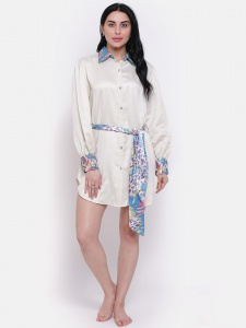 Designer Printed Satin  Boyfriend Shirt-Dress For Ladies From The House Of Zinniars (Z-2X-BS-002A/CREME)