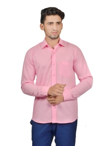 S9 Men Solid Casual Cotton Blend Shirt For Men(Dark Pink)  -S9-FS-255B