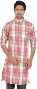 MEN Checkered Men's A-line Kurta  (Multicolor,S9-MK-602G)