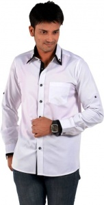 Men's Solid Casual Shirt (White, Black) S9-FS-311