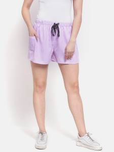 Sporty Look Stylish Cotton woven shorts Dark Lavender Colored for women of all ages(Z-DS-001D)