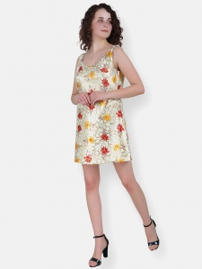 Floral Print Lime Yellow Short Dress For Women (ZINN=ZIB-2X-015)