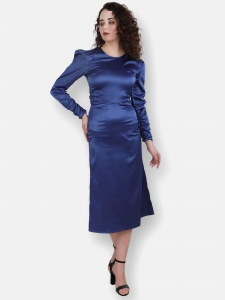 Satin Bodycon Blue Evening Dress For Women (ZINN=ZIB-2X-004)