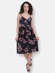 Floral Print Shoulder Thin Strap Knee Lenght Dress (ZINN=ZIB-2X-003A )