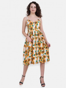 Floral Print Shoulder Thin Strap Knee Length Dress (ZINN=ZIB-2X-003B )