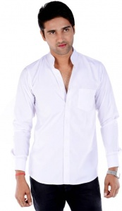 S9 Men's Solid Casual White Shirt S9-FS-208A