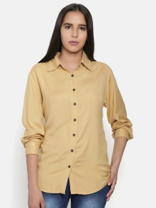 Elegant Beige Shirt With Contrast Thread Work And Full Sleeves For Women (Z-2X-TnB-0011A)