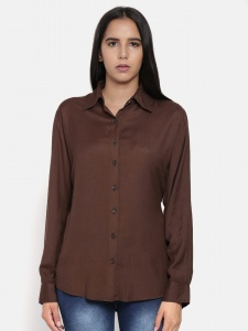Elegant Brown Shirt With Contrast Thread Work And Full Sleeves For Women (Z-2X-TnB-0011B)